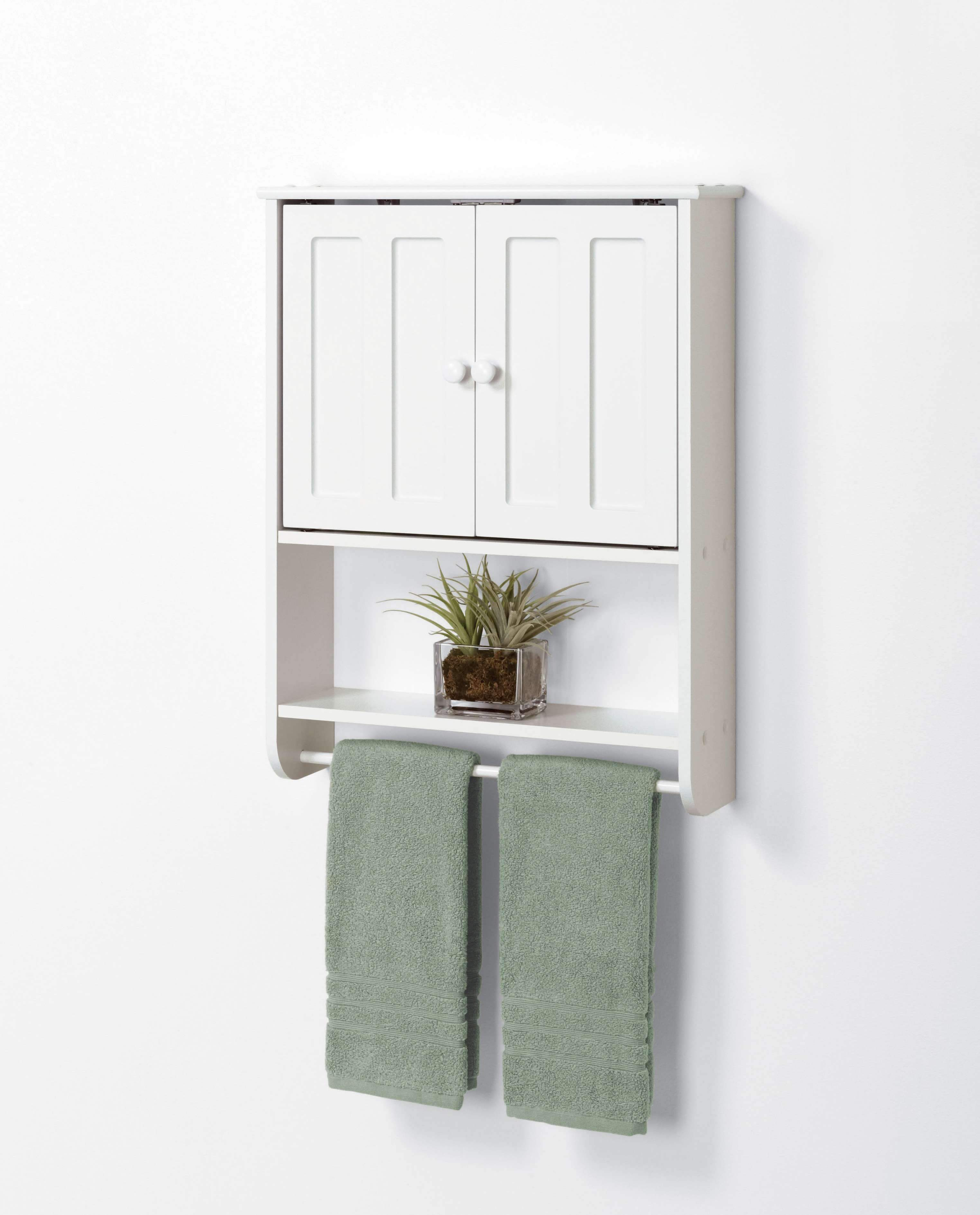 Callie Bathroom Storage Wall Cabinet, White Over The Toilet Cabinet With Towel Bar