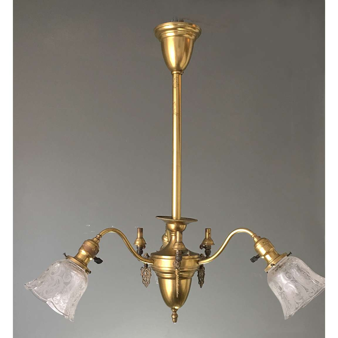 Historic Houseparts Inc Antique Ceiling Fixtures Antique Brass Gas Electric Combination Ceiling Light Fixture With Etched Shades