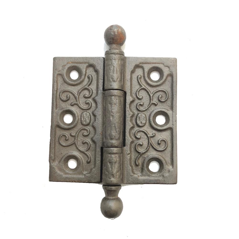 """Antique acorn tip cast iron door hinge 3/"""" x 3 1//2/"""""""