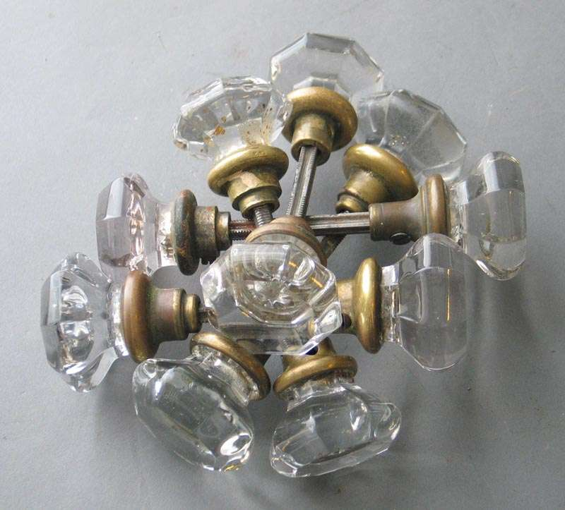 Vintage Antique 8 Point Crystal Glass Door Knob Handle Set Clear Glass 1 Set BY2