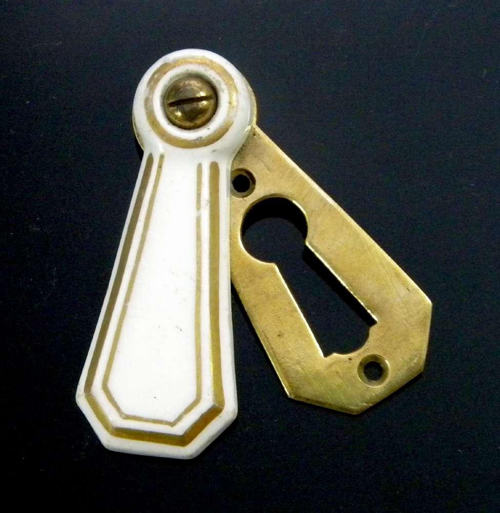 SOLID BRASS ESCUTCHEON Keyhole Key Hole Scratch Plate Euro Lock Retro Style Gold