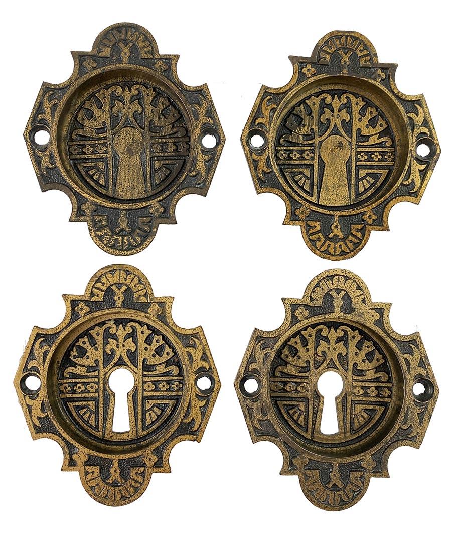 Picture of: Historic Houseparts Inc Antique Pocket Door Hardware Set Of Four Antique Cast Bronze Pocket Or Sliding Door Flush Escutcheon Pulls In Gothic Design By P F Corbin Circa 1881