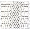 "Hudson Penny Round 3/4"" Glazed Porcelain Mosaic Tile - Glossy White - Case of 10.20 Square Feet"