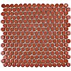 "Hudson Penny Round 3/4"" Glazed Porcelain Mosaic Tile - Glossy Vermilio Red - Case of 10.20 Square Feet"