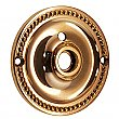 Beaded Doorknob Rosette, with Privacy Button Hole - Polished Brass