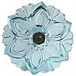 Lacy Pressed Sandwich Glass Curtain Knob or Tieback with Bronze Post - Aqua Light Blue