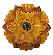 Lacy Pressed Sandwich Glass Curtain Knob or Tieback with Bronze Post - Dark Amber/Topaz