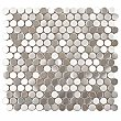 "Alloy Penny Round 11-7/8""x 11-7/8"" Stainless Steel & Porcelain Mosiac Tile - Stainless Steel - Per Sheet- .98 Square Feet"