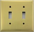 Polished Forged Unlacquered Brass Double Toggle Switchplate