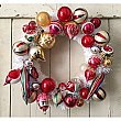Vintage Shiny-Brite Holiday Ornament Wreath - Red and Gold