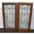 Antique Pair of Oak Leaded Cabinet Doors