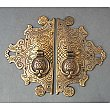 Antique Pair of Brass Crofts & Assinder Co Wardrobe Furniture Pulls with Ornate Backplates