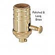 Heavy Turned Solid Brass Lamp Socket with Dimmer & Removable Turn Knob - No UNO Thread-Polished & Lacquered Brass