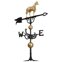 "46"" Full Bodied Horse Weathervane - Gold and Black - Includes Roof Mounting Bracket"