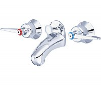 Two Handle Slant Back Lavatory Sink Faucet - Polished Chrome - No Drain