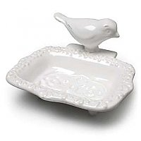 White Ceramic Bird Soap Dish