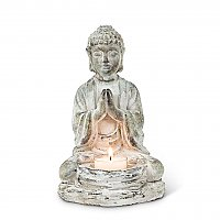 Sitting Buddha Cast Concrete Statue and Tealight Holder
