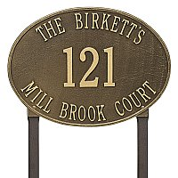 Hawthorne Oval Estate Size Lawn Mount Address Plaque