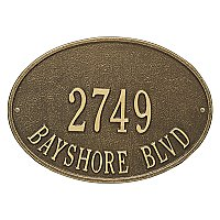 Hawthorne Oval Standard Size Wall Mount Address Plaque - Two Line