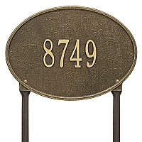 Hawthorne Oval Standard Size Lawn Mount Address Plaque - One Line