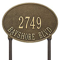 Hawthorne Oval Standard Size Lawn Mount Address Plaque - Two Line