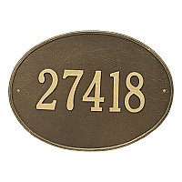 Hawthorne Oval Estate Large Size Wall Mount Address Plaque - One Line