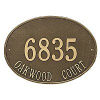 Hawthorne Oval Estate Large Size Wall Mount Address Plaque - Two Line