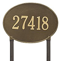 Hawthorne Oval Estate Large Size Lawn Mount Address Plaque - One Line