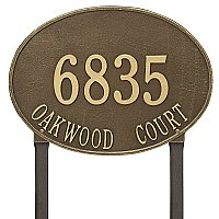 Hawthorne Oval Estate Large Size Lawn Mount Address Plaque - Two Line