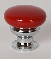 Metal Cabinet Knob - Candy Red & Polished Chrome