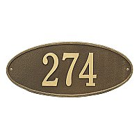 Madison Oval Standard Size Wall Mount Address Plaque - One Line