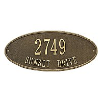 Madison Oval Standard Size Wall Mount Address Plaque - Two Line