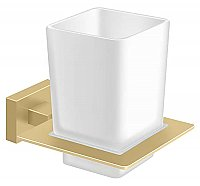 Modern Geometric Tumbler Holder with Glass - Satin Brass
