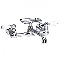 American Standard Amarilis Heritage Wall Mount Kitchen Faucet with soap dish in Chrome