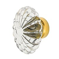 "Nostalgic Warehouse Oval Fluted Crystal 1-3/4"" Cabinet Knob in Polished Brass"