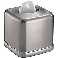 York Bath, Facial Tissue Box Cover or Holder for Bathroom Vanity Countertops - Brushed Nickel and Chrome