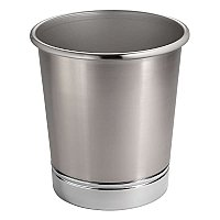 York Metal Bathroom Trash Waste Can - Brushed Nickel & Chrome