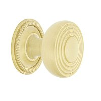 "Nostalgic Warehouse Deco Brass 1-3/8"" Cabinet Knob with Rope Rose in Satin Brass"