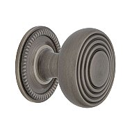 "Nostalgic Warehouse Deco Brass 1-3/8"" Cabinet Knob with Rope Rose in Antique Pewter"