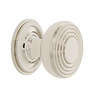 "Nostalgic Warehouse Deco Brass 1-3/8"" Cabinet Knob with Rope Rose in Polished Nickel"