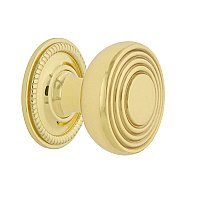 "Nostalgic Warehouse Deco Brass 1-3/8"" Cabinet Knob with Rope Rose in Unlacquered Brass"