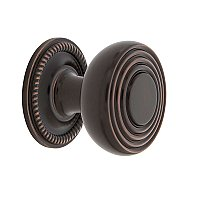"Nostalgic Warehouse Deco Brass 1-3/8"" Cabinet Knob with Rope Rose in Timeless Bronze"