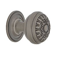 "Nostalgic Warehouse Egg And Dart Brass 1-3/8"" Cabinet Knob with Classic Rose in Antique Pewter"