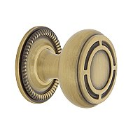 "Nostalgic Warehouse Mission Brass 1-3/8"" Cabinet Knob with Rope Rose in Antique Brass"