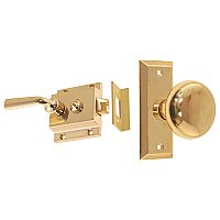 Solid Brass Traditional Surface Mount Storm Door Latch Set - Lacquered Polished Brass