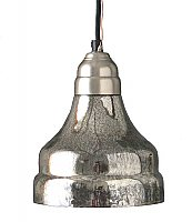 Glass Pendant Lamp, Antiqued Silver