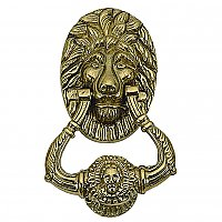 Lion Head Solid Brass Door Knocker 7-1/2""