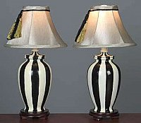 Pair of Black and White Accent Lamps