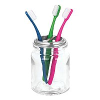 Westport Toothbrush Holder - Clear Glass & Brushed Nickel
