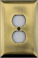 Jumbo Oversized Antique Brass Stamped Single Duplex Switchplate / Cover Plate